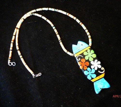 Image 1 of Santo Domingo Pueblo Mosaic Inlay Fish Necklace, Mary Tafoya