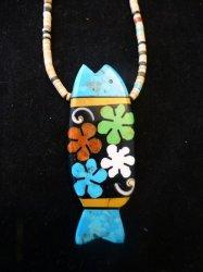 Santo Domingo Pueblo Mosaic Inlay Fish Necklace, Mary Tafoya