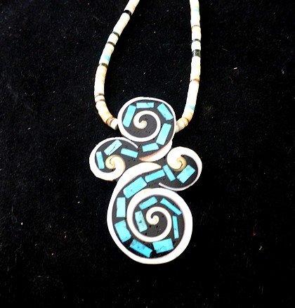 Image 0 of Unique Santo Domingo Kewa Turquoise Inlay Folk Art Necklace, Mary Tafoya