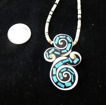 Image 3 of Unique Santo Domingo Kewa Turquoise Inlay Folk Art Necklace, Mary Tafoya