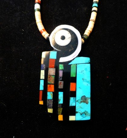 Image 0 of Colorful Santo Domingo Multigem Inlay Pendant & Heishi Necklace, Mary Tafoya