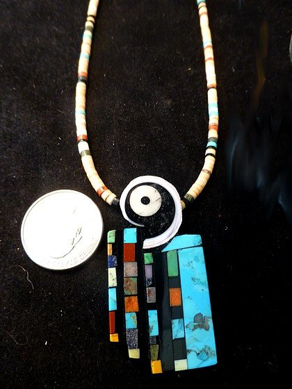 Image 1 of Colorful Santo Domingo Multigem Inlay Pendant & Heishi Necklace, Mary Tafoya