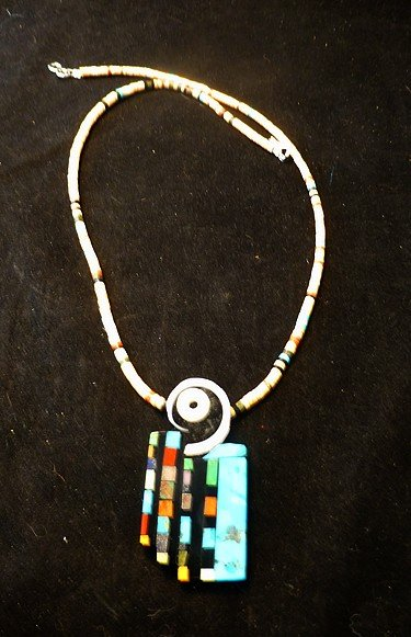 Image 2 of Colorful Santo Domingo Multigem Inlay Pendant & Heishi Necklace, Mary Tafoya