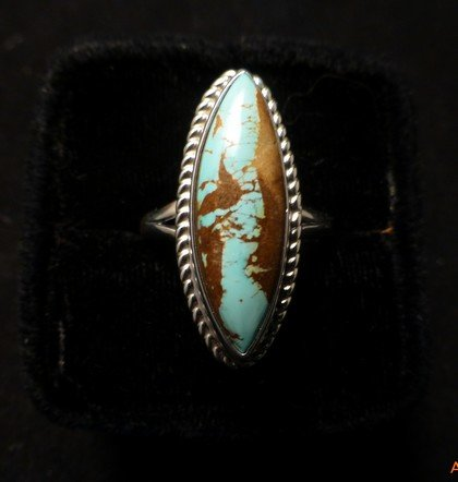 Image 0 of Navajo Indian Jewelry Bouder Turquoise Silver Ring Sz8-1/2, Shirley Henry
