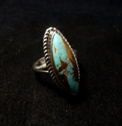 Image 1 of Navajo Indian Jewelry Bouder Turquoise Silver Ring Sz8-1/2, Shirley Henry