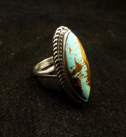 Image 2 of Navajo Indian Jewelry Bouder Turquoise Silver Ring Sz8-1/2, Shirley Henry