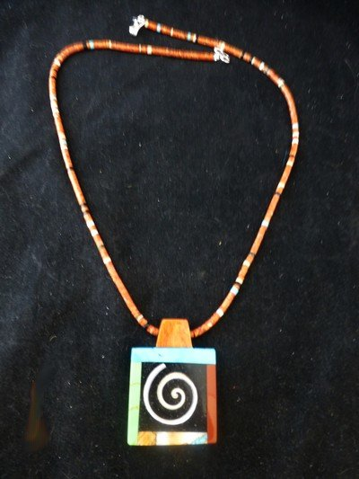 Image 1 of Abstract Santo Domingo Kewa Multigem Inlay Pendant Heishi Necklace, Mary Tafoya