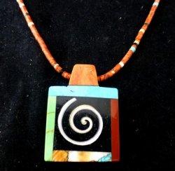 Abstract Santo Domingo Kewa Multigem Inlay Pendant Heishi Necklace, Mary Tafoya