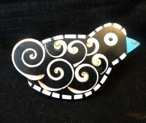 Image 0 of Whimsical Mary Tafoya Santo Domingo Kewa Pueblo Folk Art Inlay Bird Pin/Pendant
