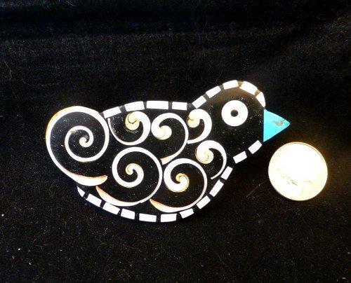 Image 1 of Whimsical Mary Tafoya Santo Domingo Kewa Pueblo Folk Art Inlay Bird Pin/Pendant