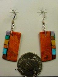 Santo Domingo Kewa Apple Coral Inlay Earrings, Mary Tafoya