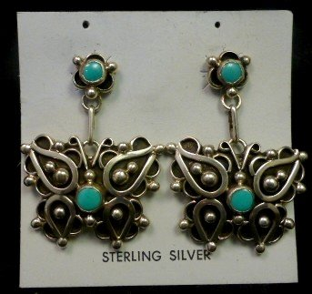Image 0 of Native American Lorena Nez Turquoise Butterfly Dangle Earrings