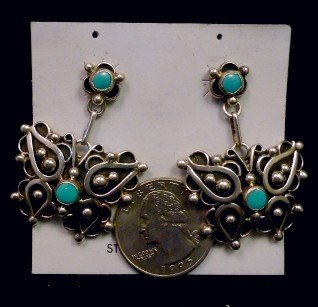 Image 1 of Native American Lorena Nez Turquoise Butterfly Dangle Earrings