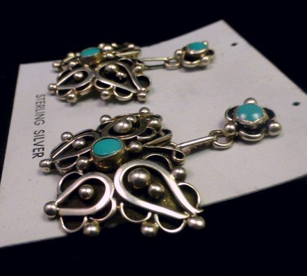 Image 2 of Native American Lorena Nez Turquoise Butterfly Dangle Earrings