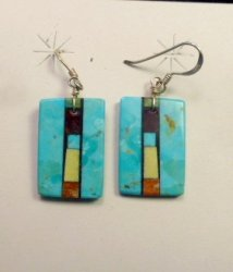 Santo Domingo 2-sided Turquoise Multi-Inlay Earrings, Mary Tafoya