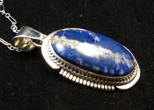 Image 1 of Native American Lapis Sterling Silver Pendant Necklace - Navajo, Larson Lee