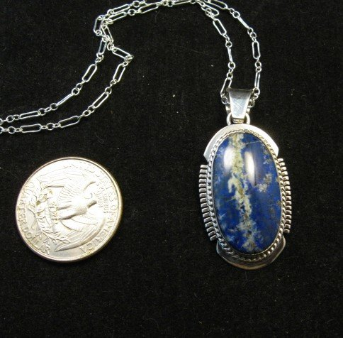 Image 2 of Native American Lapis Sterling Silver Pendant Necklace - Navajo, Larson Lee