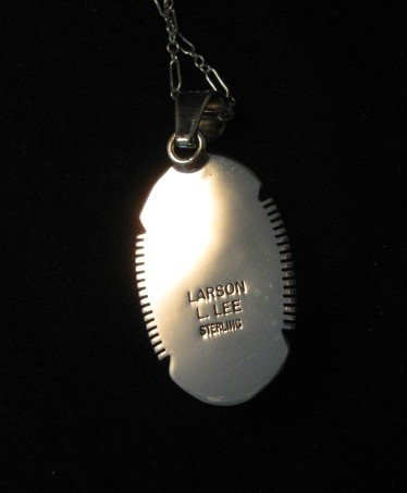 Image 3 of Native American Lapis Sterling Silver Pendant Necklace - Navajo, Larson Lee