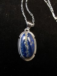 Native American Lapis Sterling Silver Pendant Necklace - Navajo, Larson Lee