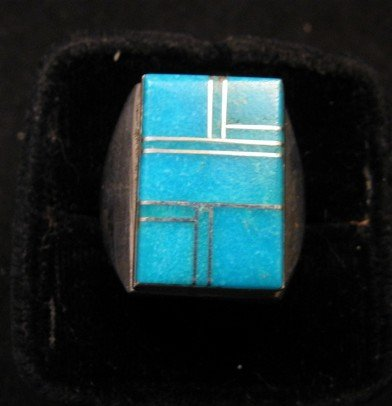 Image 0 of Navajo Indian Ring Turquoise Inlay Size 10 Sterling Silver Wilbert Gray
