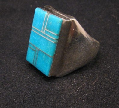 Image 1 of Navajo Indian Ring Turquoise Inlay Size 10 Sterling Silver Wilbert Gray