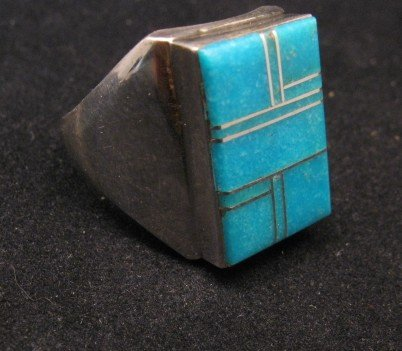Image 2 of Navajo Indian Ring Turquoise Inlay Size 10 Sterling Silver Wilbert Gray