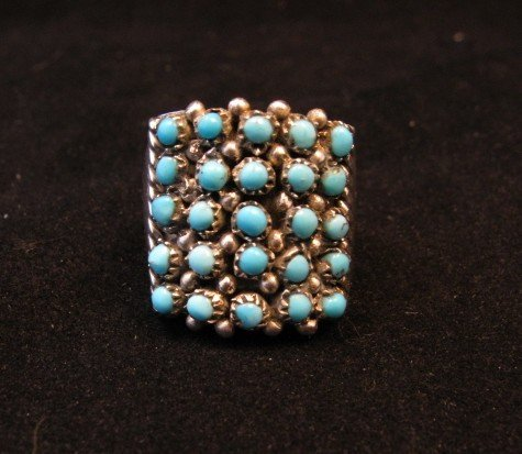 Image 0 of Zuni 5row 25stones Turquoise Snake Eye Ring, Peter Haloo III, sz6-1/2