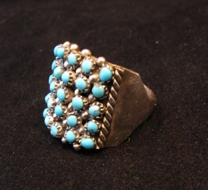 Image 1 of Zuni 5row 25stones Turquoise Snake Eye Ring, Peter Haloo III, sz6-1/2