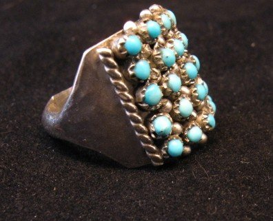 Image 2 of Zuni 5row 25stones Turquoise Snake Eye Ring, Peter Haloo III, sz6-1/2