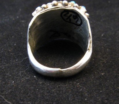 Image 3 of Zuni 5row 25stones Turquoise Snake Eye Ring, Peter Haloo III, sz6-1/2