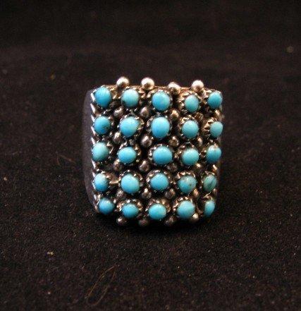 Image 0 of Zuni 5row 25stones Turquoise Snake Eye Ring, Peter Haloo, sz8