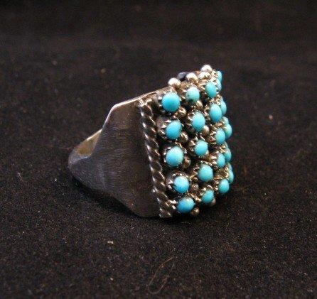 Image 2 of Zuni 5row 25stones Turquoise Snake Eye Ring, Peter Haloo, sz8