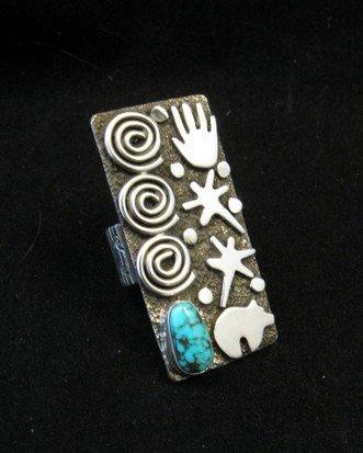Image 0 of Big Navajo Alex Sanchez Petroglyph Turquoise Silver Ring sz7-1/2