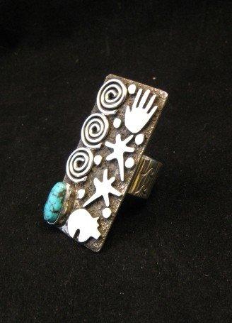 Image 3 of Big Navajo Alex Sanchez Petroglyph Turquoise Silver Ring sz7-1/2