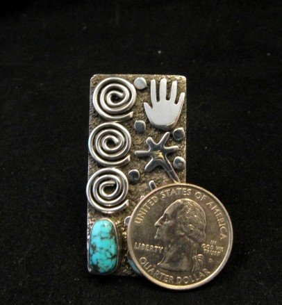 Image 4 of Big Navajo Alex Sanchez Petroglyph Turquoise Silver Ring sz7-1/2