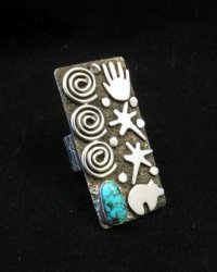 Big Navajo Alex Sanchez Petroglyph Turquoise Silver Ring sz7-1/2