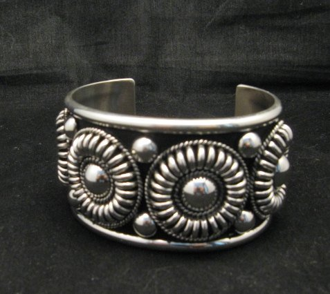 Image 0 of Native American Navajo Thomas & Colton Charley Sterling Silver Concho Bracelet