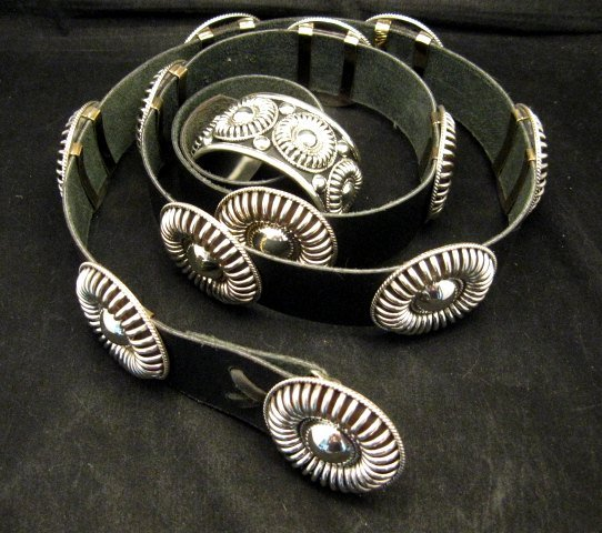 Image 9 of Thomas Charley Navajo Sterling Silver Concho Belt