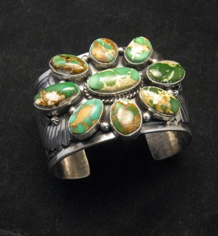 Image 8 of A++ Navajo Native American Royston Turquoise Cluster Bracelet, Gilbert Tom
