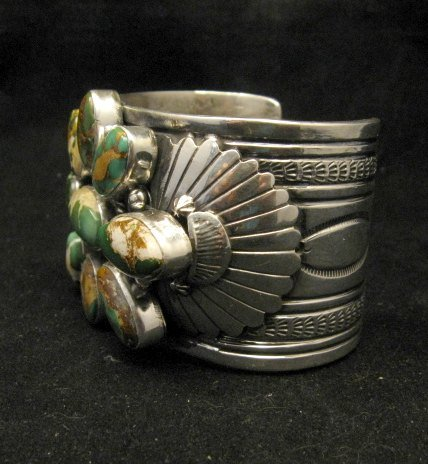 Image 4 of A++ Navajo Native American Royston Turquoise Cluster Bracelet, Gilbert Tom