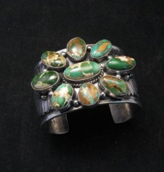 A++ Navajo Native American Royston Turquoise Cluster Bracelet, Gilbert Tom