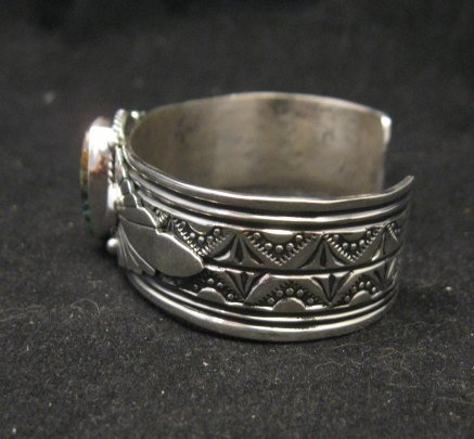 Image 2 of Navajo Gilbert Tom Old Pawn Style Turquoise Silver Bracelet