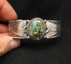 Navajo Gilbert Tom Old Pawn Style Turquoise Silver Bracelet