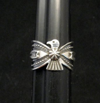 Image 0 of Darrell Cadman Navajo Old Pawn Style Thunderbird Silver Ring sz7