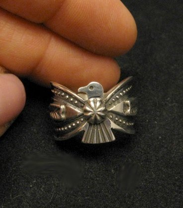 Image 1 of Darrell Cadman Navajo Old Pawn Style Thunderbird Silver Ring sz7