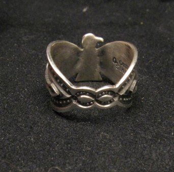 Image 2 of Darrell Cadman Navajo Old Pawn Style Thunderbird Silver Ring sz7