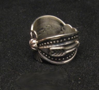 Image 4 of Darrell Cadman Navajo Old Pawn Style Thunderbird Silver Ring sz7
