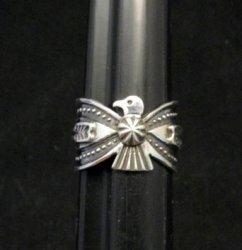 Darrell Cadman Navajo Old Pawn Style Thunderbird Silver Ring sz7
