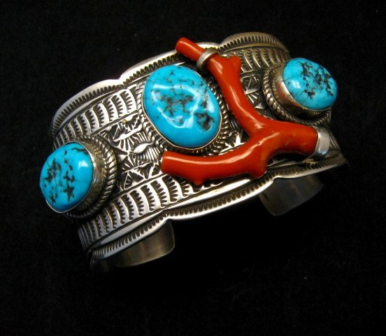 Image 0 of Navajo Native American Sleeping Beauty Turquoise Coral Bracelet, Tillie Jon