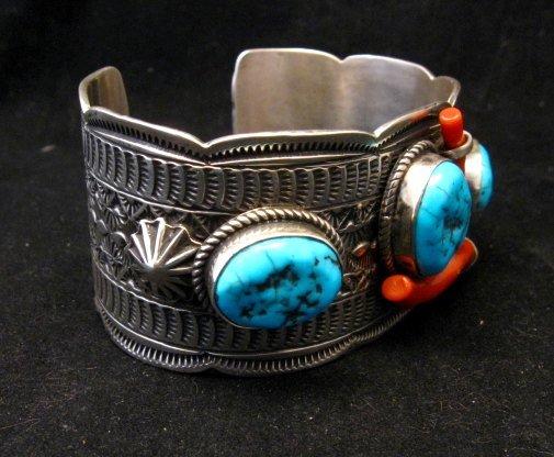 Image 2 of Navajo Sleeping Beauty Turquoise Coral Bracelet, Tillie Jon